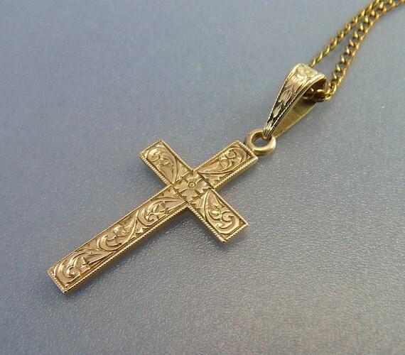 antique 14k gold cross pendant necklace