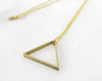 Minimalist Geometric Brass Necklace // Dainty Triangle Layering Necklace