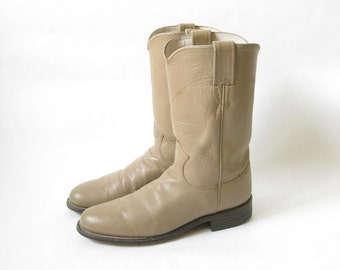 Vintage Justin Taupe Leather Roper Boots. Size 7 1/2