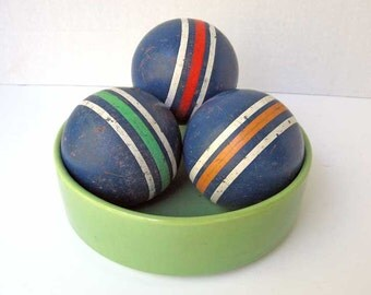 Set of 3 1940's Vintage Wooden Game Balls in Old Paint, Blue with Stripes, Old Finish, Table Decor, Centerpiece, Sports Decor, Country Decor