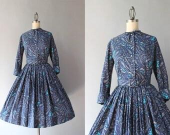 1950s Dress Set / Vintage 50s Paisley Silk Dress / 1950s Full Pleated Skirt and Bow Neck Blouse Set