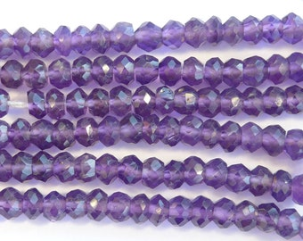 14 inches of microfaceted grape amethyst rondelle beads - average 3mm width
