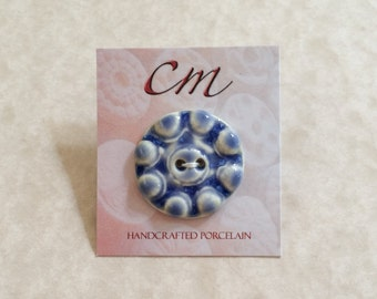 Bumpy and Blue Porcelain Button-Medium Porcelain Button-Blue Ceramic Button-Handcrafted Porcelain Button-Blue and White Button-Handmade
