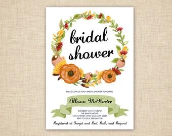 Fall Bridal Shower Invitations - Autumn floral wreath