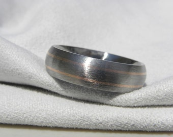 Titanium Rose Gold Ring or Wedding Band Pinstripes Stone Finish