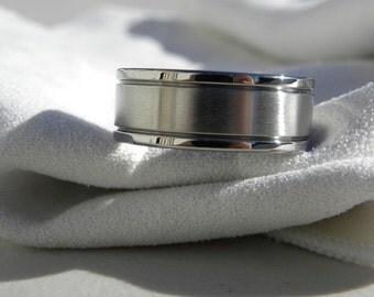 Titanium Ring or Wedding Band Polished Brushed Combination Finish