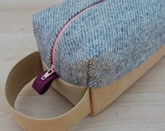 Striped Wool Tweed Lg CA Roll (toiletries or carry-all bag)