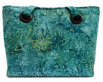 Blue Green Batik Print Purse