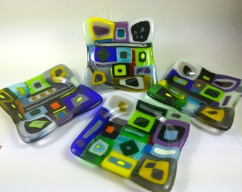 Colorful Retro Sexy Coasters Fused Glass Set of Four