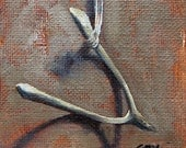 bone study: wishbone - 3x3inch mini original oil painting with mini easel