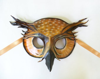 Owl Leather Mask horned owl eagle owl