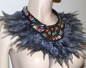 Shades of grey beaded feather statement bib collar Necklace high fashion tribal fusion warrior goddess couture