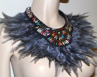 Tribal boho Steampunk beaded feather statement bib collar Necklace high fashion goddess couture