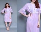 Vintage 70's Lavendar Sheer Lace Boudoir Slip Negligee Sleepwear - Size S M
