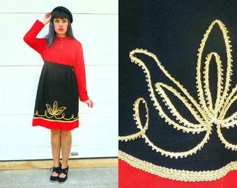 SALE 1970s Vintage Mod Dress Orange and Black Mod Empire Waist with Gold Leaf Embroidery Long Sleeves Knee Length Size Medium