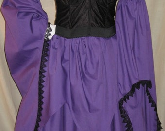 DDNJ Choose Color Renaissance Vampire Witch Gypsy Fairy Chemise Costume Cosplay LARP Anime Plus Custom Made ANY Size Steampunk Goth Lolita