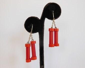 60s earrings / Vintage 1960's Dangling Mod Striped Earrings