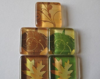 Leave and Pumpkins Square Glass Magnets Set of 5