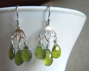 Vessonite Garnet Lotus Chandeliers, Sterling Lotus, Green Gemstone earrings, Gift Idea