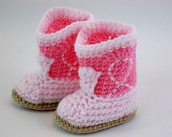 Crochet Baby Booties  Rose & Pink Cowgirl Boots Western Booties