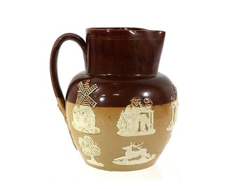 1800s Doulton Lambeth Pitcher | Antique English Pottery | Salt Glazed