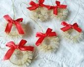 "White Bottle brush wreaths ornaments 1"" 1/2 flocked christmas village cottage craft supplies vintage style supplies mini wreaths millinery"