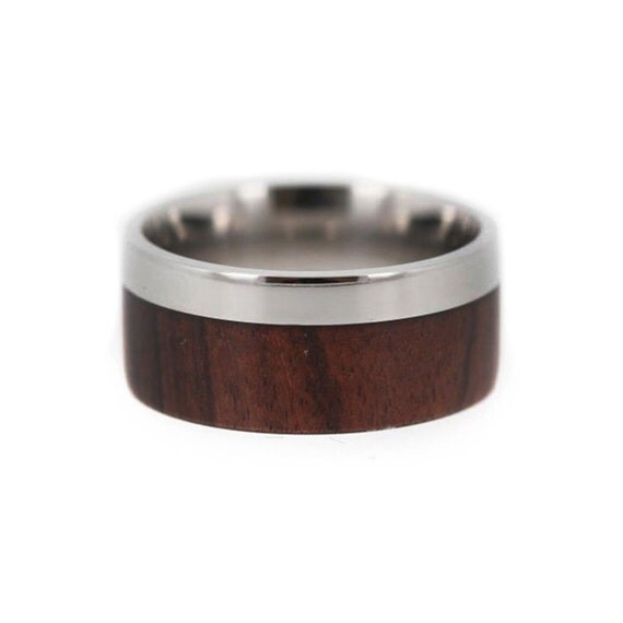 Titanium and Wood Wedding Ring, Ironwood Wood Ring, Offset Titanium Ring, Ring Armor Included