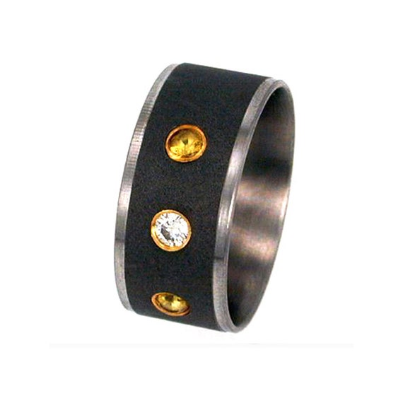 Titanium Ring, Set Diamond and Yellow Sapphires, Yellow Gold Settings