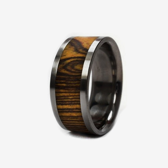 Wedding Ring - Bocote Wood Ring inlaid in Titanium Band, Ring Armor Included