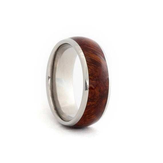 Titanium Ring With Ironwood Burl Inlay Exotic By Jewelrybyjohan
