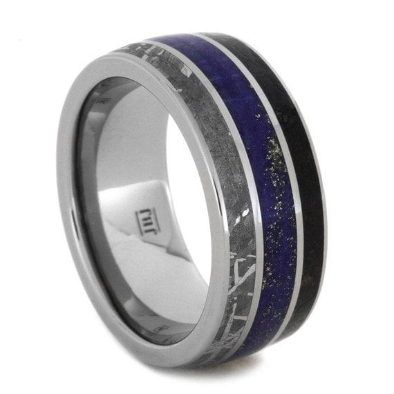Titanium Wedding Band With Lapis Lazuli By Jewelrybyjohan