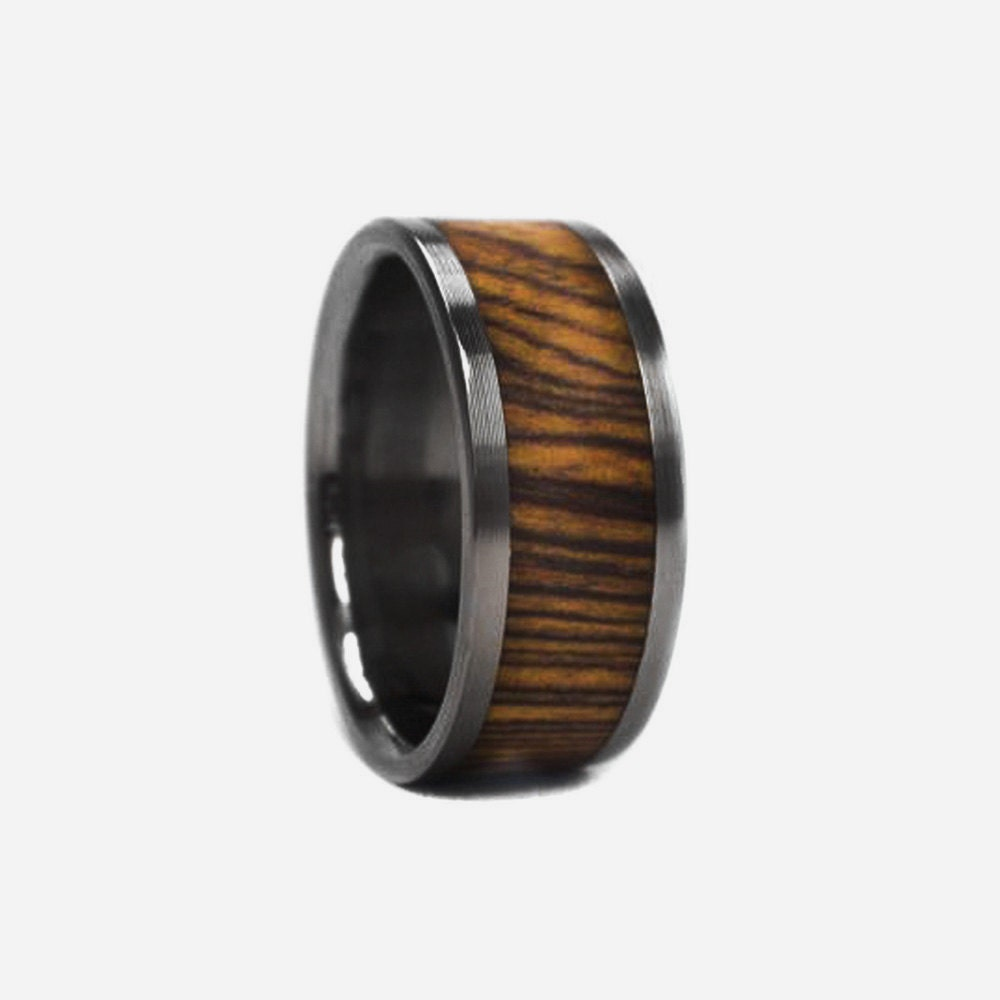 mens wood wedding band titanium wood ring ring by