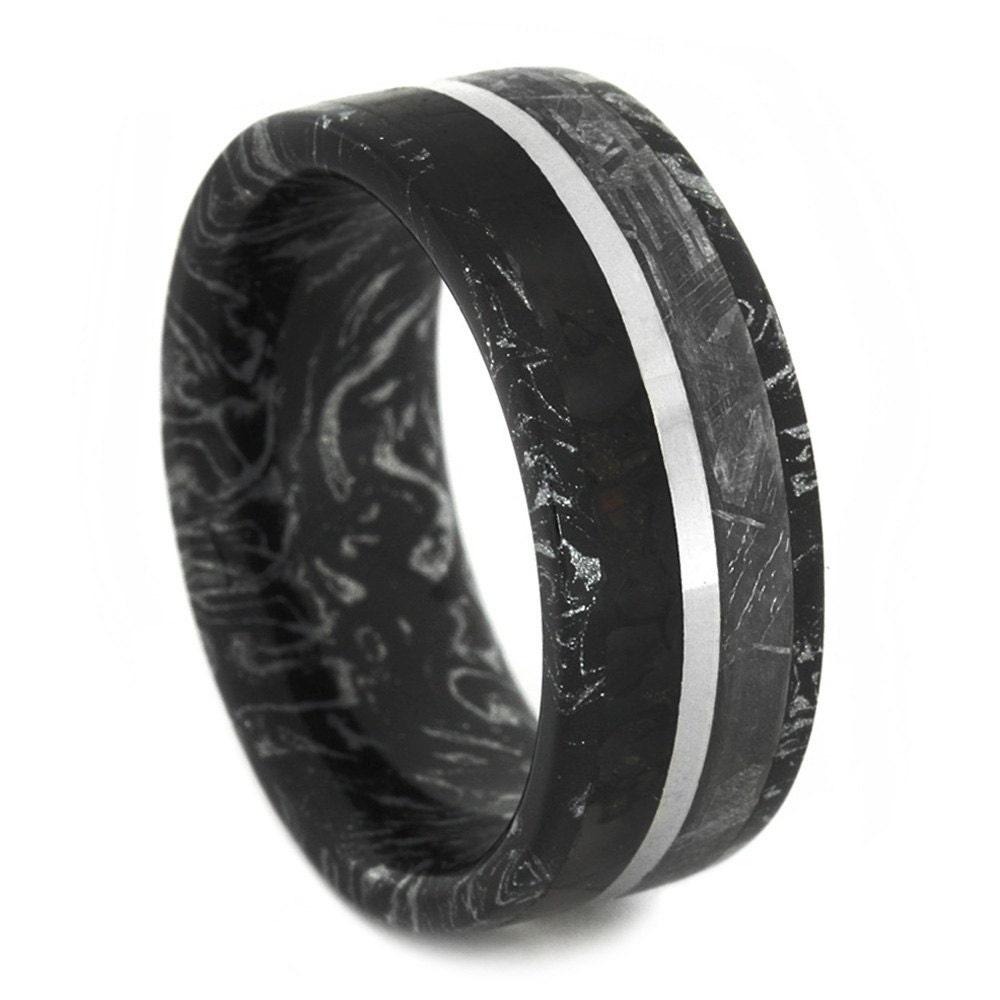 dinosaur bone and gibeon meteorite ring black by