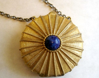 vintage Estee Lauder Lapiz Lazuli Gold sunburst perfume locket Empire necklace