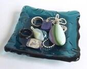 Sea Blue Fused Glass Art Nouveau Imprint Square Plate