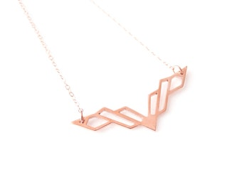 Volo Necklace - Modern, Geometric, Minimalist - Rose Gold