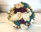 Purple and teal Wedding Bouquet - sola flowers - choose colors - Custom bridal bouquet - Alternative bouquet - bridesmaids bouquet