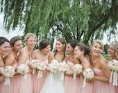 Peach Wedding Bouquet made with sola flowers - choose your colors - Custom - lace - Alternative bridal bouquet - bridesmaids bouquet