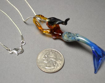 Wild Coral blue tail Mermaid necklace pendant with silver chain and lobster clasp