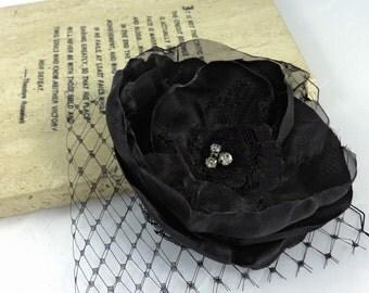 MADE to ORDER -Black Veiled Wedding Fascinator, Deep Black Bridal Hair Flower, Veiled Wedding Headpiece Jet black Bloom with Veil- SCARLETT