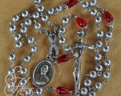 Rosary Diabetes St Jose Maria Escriva Gray Silver Ribbon Pearl Blood Droplet Glass Enamel