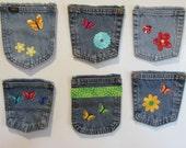 Magnetic Embellished Upcycled Repurposed Denim Jean Pocket