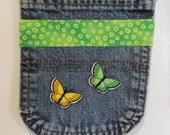 Magnetic Embellished Upcycled Repurposed Denim Jean Locker Pocket
