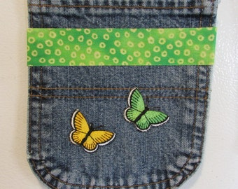 Magnetic Embellished Upcycled Repurposed Denim Jean Locker Pocket