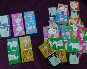 Vintage Animal Dominoes Match Game Cards