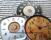 3 Clock Christmas ornaments antique vintage clock face images French Farmhouse Shabby Romantic Chic Christmas N22
