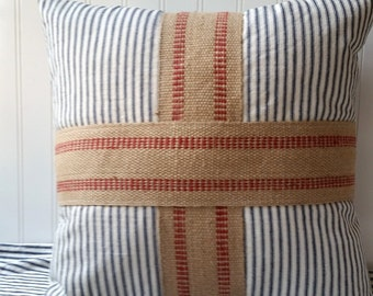 Ticking and burlap flag cross pillow vintage blue and white ticking red white blue Farmhouse Cottage Chic