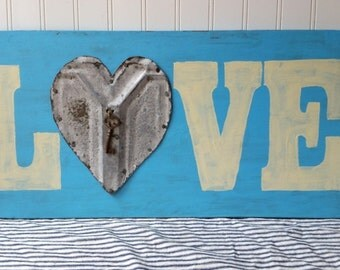 Handpainted sign wooden Love sign upcycled vintage tin heart with key aqua blue cream Romantic decor wedding anniversary sign