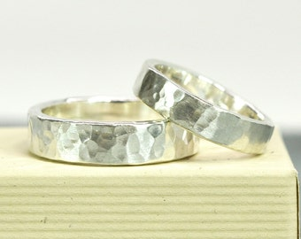 Wedding Bands, Hammered Silver Ring Set, Matte Finish Hand Forged, Unisex Rings, Affordable, Sea Babe Jewelry