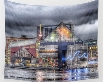 Baltimore Tapestry, HDR Downtown Tapestry, Landscape Wall Tapestry, City Photography, Urban Tapestry, Inner Harbor Tapestry, Waterfront